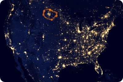 """NASA image acquired April 18 - October 23, 2012This image of the United States of America at night is a composite assembled from data acquired by the Suomi NPP satellite in April and October 2012. The image was made possible by the new satellite's """"day-night band"""" of the Visible Infrared Imaging Radiometer Suite (VIIRS), which detects light in a range of wavelengths from green to near-infrared and uses filtering techniques to observe dim signals such as city lights, gas flares, auroras, wildfires, and reflected moonlight.""""Nighttime light is the most interesting data that I've had a chance to work with,"""" says Chris Elvidge, who leads the Earth Observation Group at NOAA's National Geophysical Data Center. """"I'm always amazed at what city light images show us about human activity."""" His research group has been approached by scientists seeking to model the distribution of carbon dioxide emissions from fossil fuels and to monitor the activity of commercial fishing fleets. Biologists have examined how urban growth has fragmented animal habitat. Elvidge even learned once of a study of dictatorships in various parts of the world and how nighttime lights had a tendency to expand in the dictator's hometown or province.Named for satellite meteorology pioneer Verner Suomi, NPP flies over any given point on Earth's surface twice each day at roughly 1:30 a.m. and p.m. The polar-orbiting satellite flies 824 kilometers (512 miles) above the surface, sending its data once per orbit to a ground station in Svalbard, Norway, and continuously to local direct broadcast users distributed around the world. Suomi NPP is managed by NASA with operational support from NOAA and its Joint Polar Satellite System, which manages the satellite's ground system.NASA Earth Observatory image by Robert Simmon, using Suomi NPP VIIRS data provided courtesy of Chris Elvidge (NOAA National Geophysical Data Center). Suomi NPP is the result of a partnership between NASA, NOAA, and the Department of Defense. Capt"""