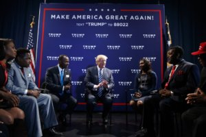 Republican presidential candidate Donald Trump meets with faith and community leaders before delivering a speech, Wednesday, Oct. 26, 2016, in Charlotte, N.C. (AP Photo/ Evan Vucci)